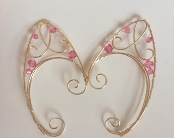 Pink and gold fairy ear cuffs