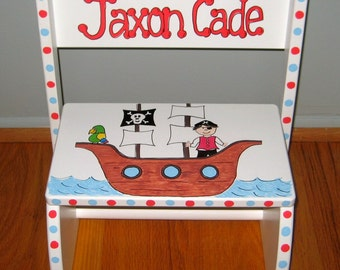 Pirate Theme Stepstool - Hand painted and Personalized