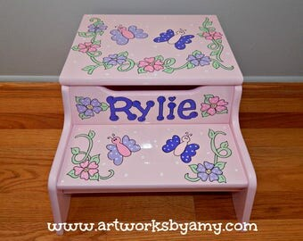 Butterfly and Flower Design Personalized Step Stool with Storage