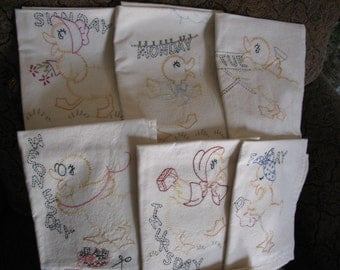 Set of Seven Daily Duck Tea Towels