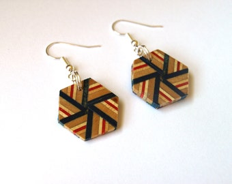 Recycled Skateboard Dangle Earrings - Hexagon Wood Earrings