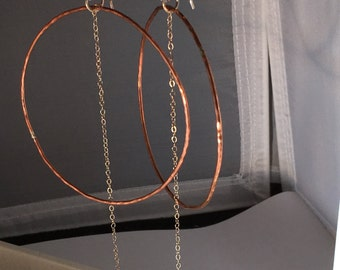 Large Hoops Sterling Chain Dangle Handmade Earwires Hand Forged Hammered Jewelry Bohemian Festival Style Great Bridesmaid Gifts