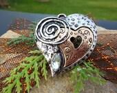 Steampunk Pendant, Metal Heart, Steampunk Charm, Steampunk Supply, Heart Charms, Silver Heart, Metal Beads, Metal Art, Silver Heart Charm
