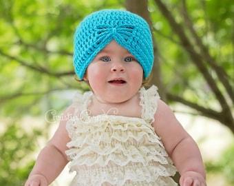 Crochet Turban Hat - Crochet Baby Hat  - Newborn Girl Hat - Baby Girl Prop - Newborn Hat - Flapper Hat - Baby Photo Prop - Infant Girl Hat