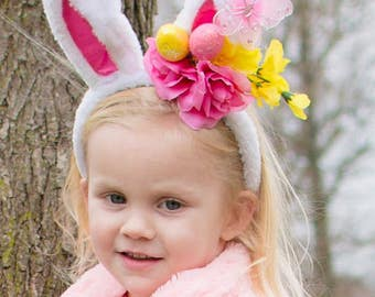 Bunny Ear Headband- Easter Bunny Ear Headband- Bunny Ears- Easter Headband- Couture Headband- Easter Basket Gift - Bunny Ears for girls
