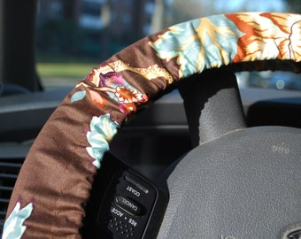 Steering Wheel Cover Multicolored floral pattern on brown background