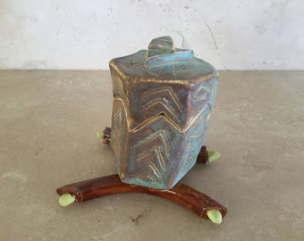 Half Price Sale. Small Handmade Ceramic Slab Built Box / Asian Inspired Stoneware