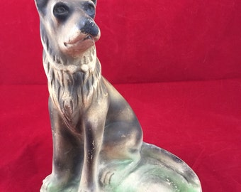 Vintage Chalkware German Shepard Ashtray Carnival Prize Dog Figurine Puppy Cigar Cigarette County Fair Carnival Games Best Friend Smoke woof