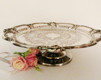Vintage Silver Cake Stand, Dessert Stand, Wedding Silver, Footed Platter, Romantic Decor