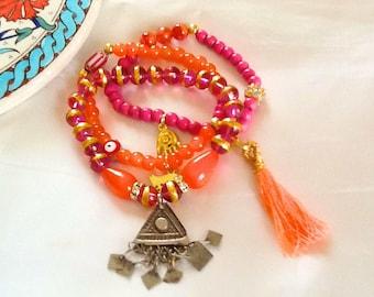 Bollywood KUCHI sultana bracelet with tassel , tribal ethnic KUCHI tassel bracelet , nomad indie bracelet , pink and orange gypsy bracelet