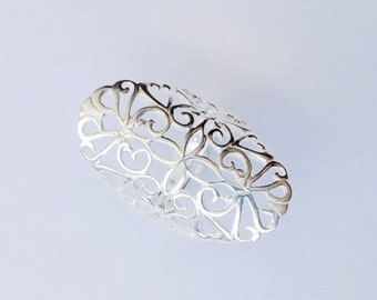 Flower lace ring, goddess ring, mandala pattern, shield ring, filigree ring - Sterling Silver (925)