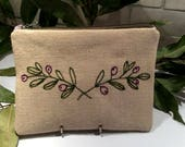 Linen pouch, hand embroidered with olive branch, handmade, one of a kind