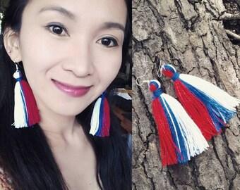 Earrings, Tassel earrings, USA flag earrings, red, blue and white earrings, red tassel earrings, patriotic earrings, Independence day