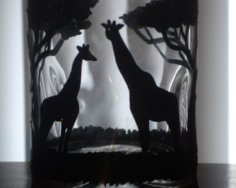 Hand painted giraffe juice/whiskey glass