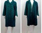 Fall Sale Vintage 1960's Turquoise and Purple Brocade Swing Coat // 60's Cocktail Evening Coat // Vintage Brocade Dress Coat // Ladies Size
