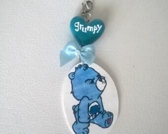 Grumpy Care Bear Charm Keychain Gift Ooak Small Figurine Toy Cute Bag Charm Blue