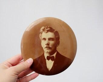 Antique Tin Button Photograph Sepia Portrait by Columbia Portrait Co. Chicago, ILL - Victorian Era Celluloid Button 6 Inch Photo Portrait