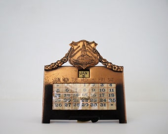 Vintage K & O Co. Bronze Perpetual Calendar - Kronheim and Oldenbusch Souvenir George Washington Masonic National Memorial Alexandria, VA