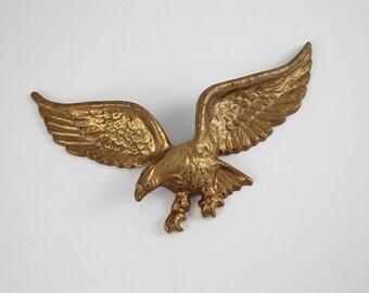 Vintage Cast Aluminum Brass Spread Eagle - Spread Eagle Pediment - American Eagle Wall Hanging