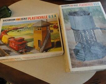 C555)  2 Vintage Plasticville Bachmann O - S scale buildings toy railroad bldgs