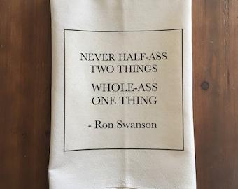 Ron Swanson Flour Sack Tea Towel