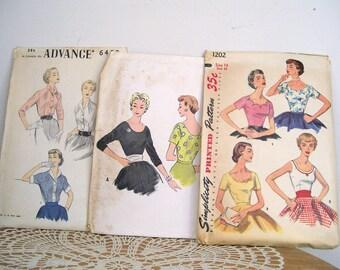 1950's Women's BLOUSE/TOP PATTERNS 3 pcs. McCalls 9873 Simplicity 1202 Advance 6458 Size 14