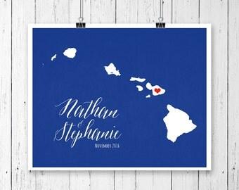 Hawaii script Wedding Gift Personalized State and Heart Custom Wedding Date Location City State Modern Art Print Map Couple 8x10 Honolulu