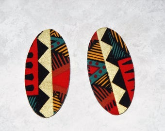Oval Stud Earrings - Fabric Covered Wood Earrings