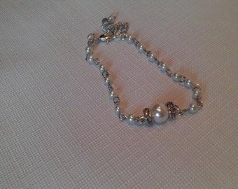 Pearl and Rhinestone Wedding Bracelet, Elegant, Simple, Pearl Bracelet with Dangling Crystal, Custom Bridal Bracelet, Pearl ,Crystal Jewelry