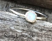 Sterling Silver Simple Iridescent Opal Ring / Hand Forged Ring / Dainty Stacking Ring