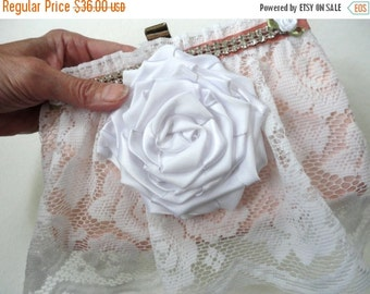 ON SALE Little Clutch Purse, Brides Wedding Handbag, Boho Bohemian Bridal Clutch, White Lace and Pink Satin, Girly and Feminine Gift