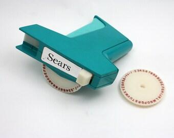 Vintage 1960s Sears Label maker, Dymo plastic tape embosser, turquoise, 2 fonts, labeler, scrapbooking supply, office organization, garage