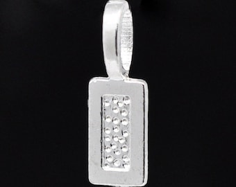 10 Bail Beads - Tags - Glue on Bails - 21x7mm -Silver Plated - Ships IMMEDIATELY from California - B1244