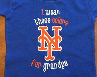 Personalized baby baseball one piece creeper or tshirt * Daddy's boy * grandpa * Mets * New York