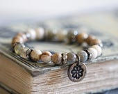 ON SALE Rustic Romance, Stretch Bracelet, Mixed Gemstones, Stack Bracelet, Bead Bracelet, 8mm, Bronze Charm, Flower Charm, Charm Bracelet, B