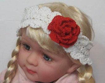 Crochet Baby Girl Headband Crochet Red Flower Headband Red Rose White Headband with Flower Toddler Girl Flower Headband Valentine's Day Gift