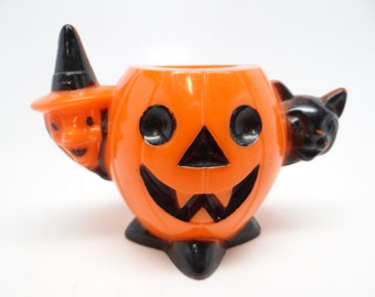 1950's Halloween Candy Container, Witch and Black Cat and Jack-o-lantern