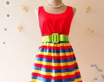 Clearance SALE SALE Red Summer Dress Colorful Dress Vintage Retro Dress Red Sundress Tea Dress Bridesmaid Dress Stripe Mod Dress Beach Pa...