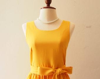 SALE USD20 - SIze S - Mustard Yellow Dress Bridesmaid Dress Yellow Party Dress Summer Dress Sundress Simple Elegant Dress Birthday Dress