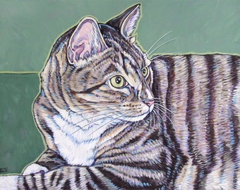 "Custom Cat Pet Portrait Painting in Acrylic on Canvas 11"" x 14"" of One Dog, Cat, Other Animal Ready to hang no framing needed Cat lover gift"