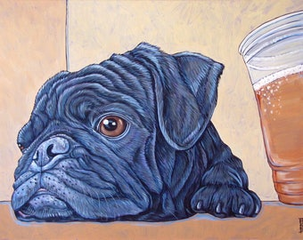 "Pug and Beer Art Print Fine Art Giclee Reproduction of Acrylic Pet Portrait Painting 9"" x 12"" Matte Paper Signed. Pug Craft Beer Lover Gift"