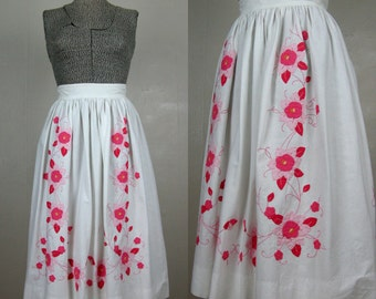 Vintage Cotton Skirt 80s/90s White Cotton Full Skirt with Pink Flower Applique 1950s Style Size S