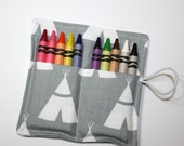 Teepee Gray Tribal Birthday Party Favors, Crayon Rolls, Tribal Theme Birthday Party Decor, holds 8 to 10 crayons, tipi