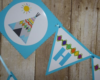 Tribal Birthday Party Banner, READY TO SHIP Tribal Wild One TeePee Tipi Happy Birthday Banner,  Birthday Party Decoration
