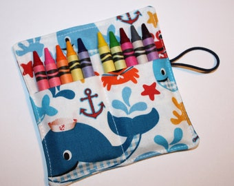 CUSTOM 15 Whales Crayon Rolls, Cute Whales & Crabs Crayon Rolls, Birthday Party Favors