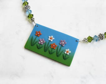 Flower necklace, Polymer clay necklace, Spring jewelry, Floral necklace, Spring necklace, Flower jewelry, Colorful jewelry