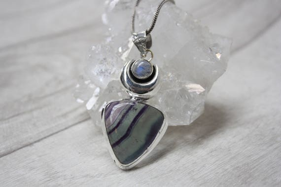 FLUORITE TEARDROP NECKLACE - Silver Plated Necklace -Moonstone- Labradorite Crystal- Chakra Jewellery- Handmade- Festival Wear- Glitter