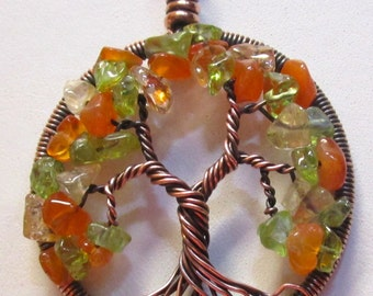 Tree of Life, New Seasons Tree Necklace, Multi-Gemstone Spring Tree of Life Pendant