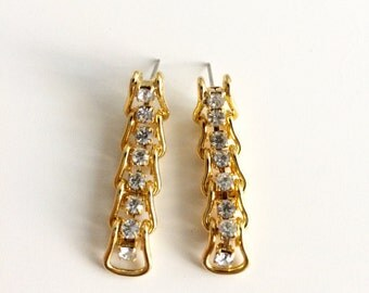 1990s Rhinestone Chain Earrings