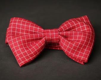 Classic / Wedding / Casual Red checked Pre Tied bow tie
